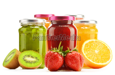 composition with jars of fruity jams