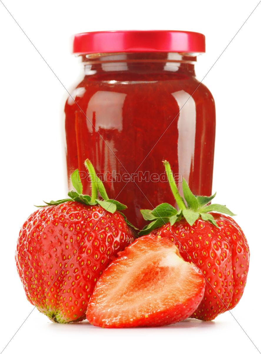 jar, of, strawberry, jam, isolated, on - 10321233