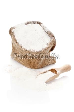 burlap sack with flour