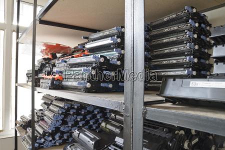 laser cartridges on the shelves