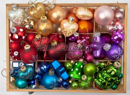 box with colorful baubles