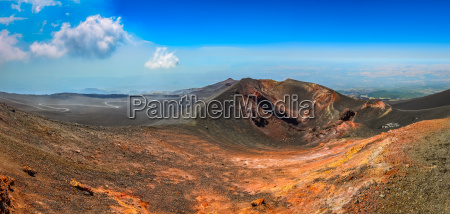 panoramic landscape view of etna volcano