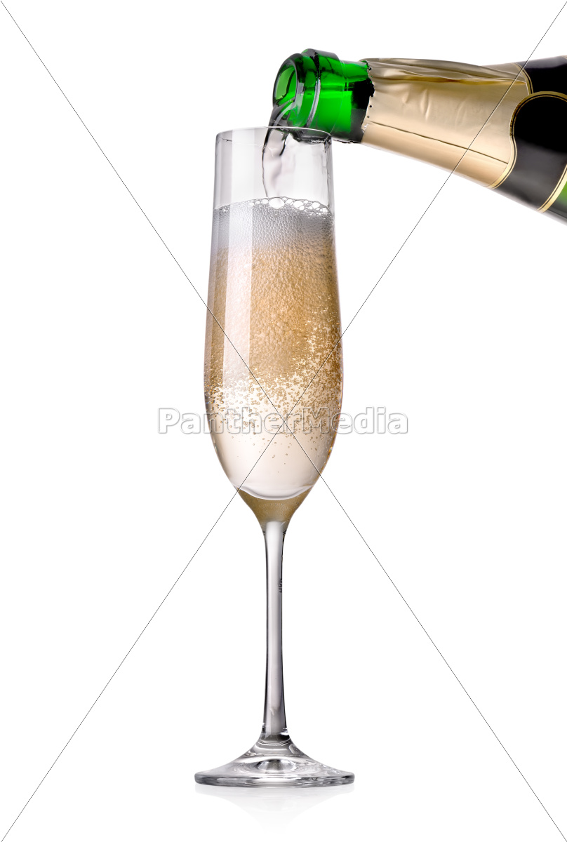 champagne, pouring, in, a, glass - 10395367
