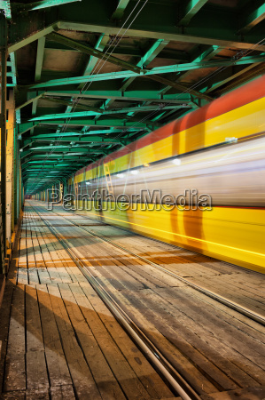 abstract tram light trail on a