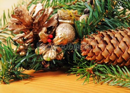 advent decoration with pine branches and