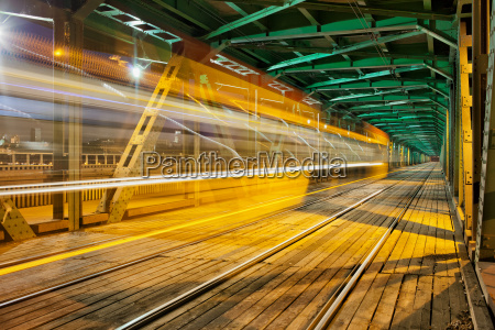 steel truss bridge with tram light