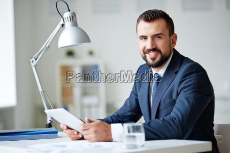 businessman, in, office - 10445785