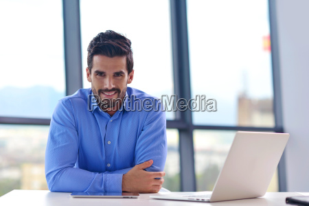 happy, young, business, man, at, office - 10465487