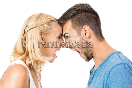young, woman, screams, her, boyfriend, to - 10476417