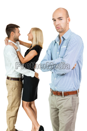 young adult man jealous of couple