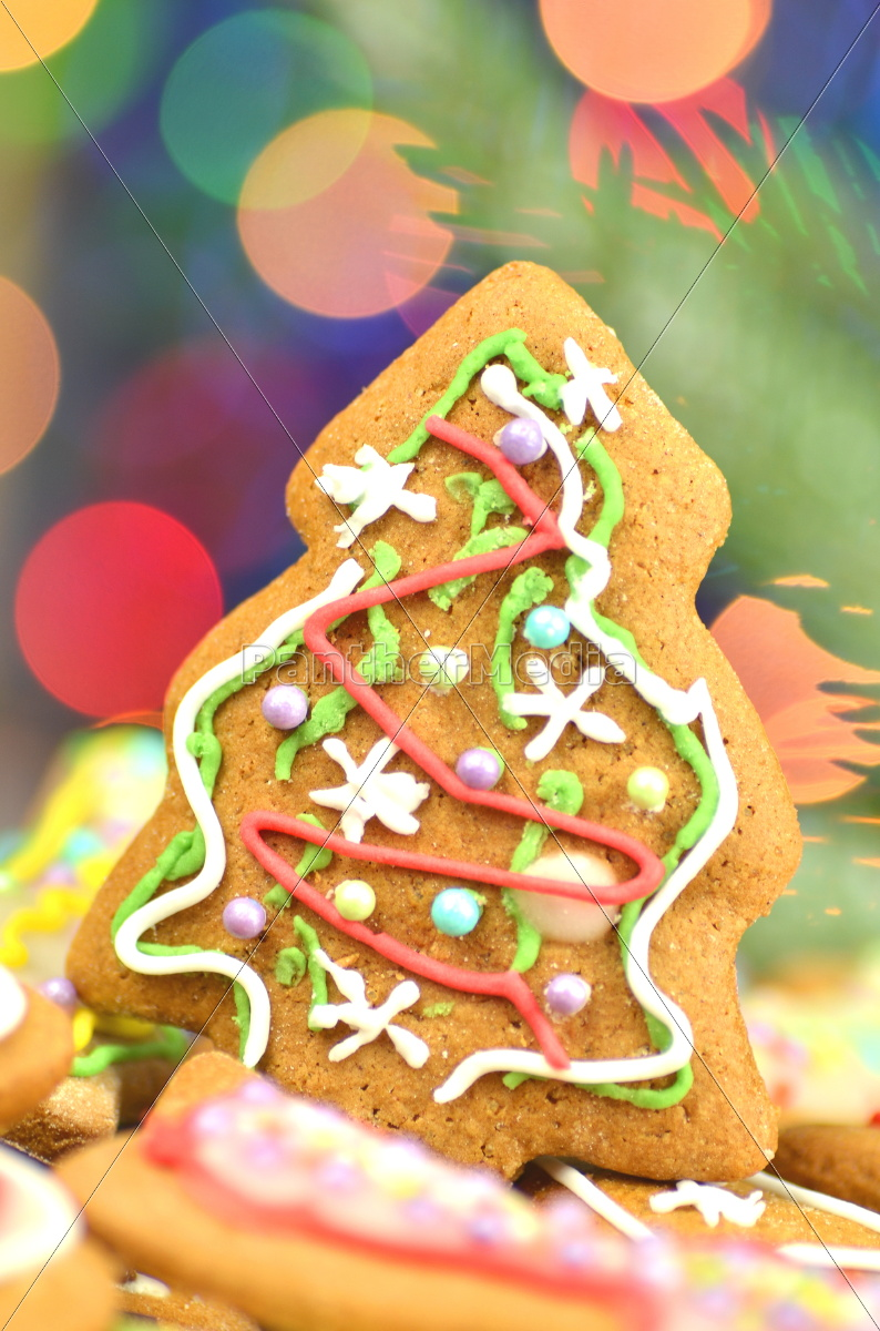 Stock Photo 10492865 Delicious Decorated Christmas Cookies On Bokeh Background
