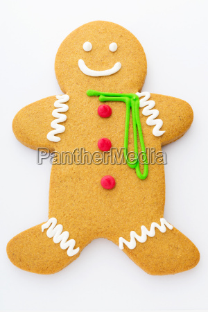 xmas gingerbread man isolated on white