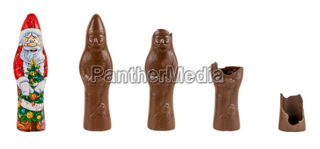 chocolate figure of santa claus being