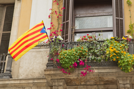 window with a catalan flag