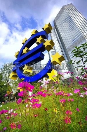 european central bank with euro symbol