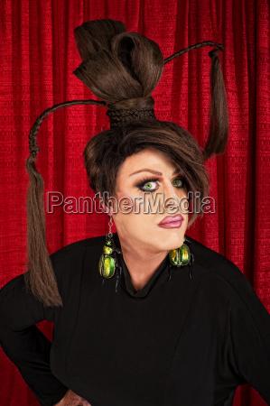 serious drag queen in black