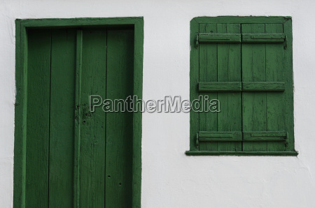 wooden door and window old house