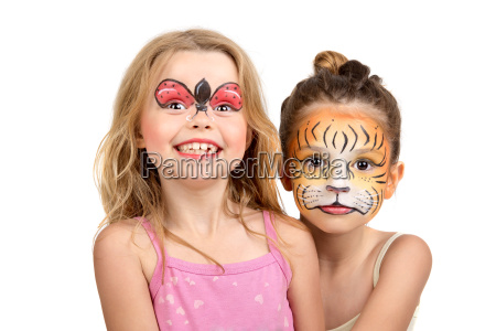 face painting tiger and ladybug