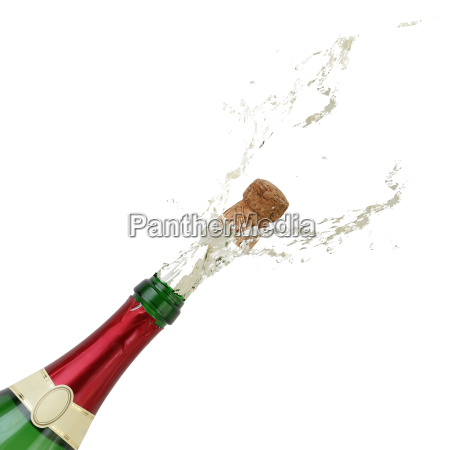 champagne splashes on new years from