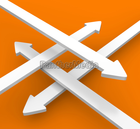 4 arrows crosswise white orange