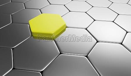 hexagon background yellow silver