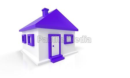 3d house red violet