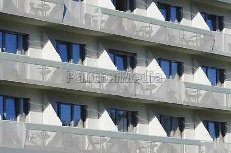 hotel facade with balconies