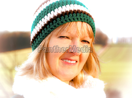 woman with crochet hat