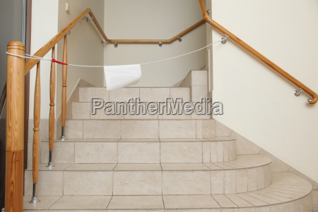 empty stairway with tiled floor no