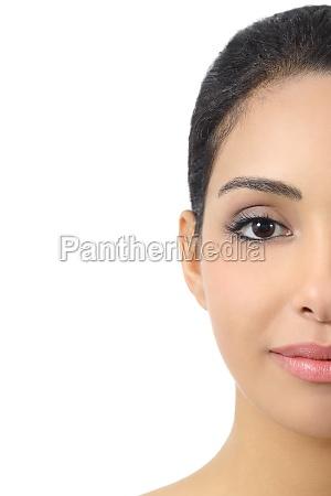 facial half front portrait of a