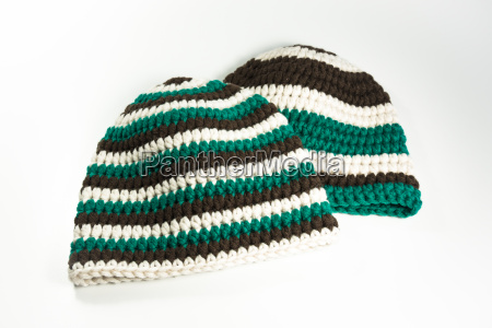 two crocheted winter hats