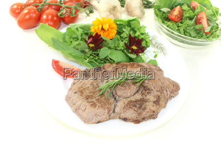 entrecote with wild herb salad