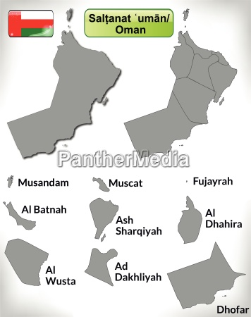 map of oman with borders in