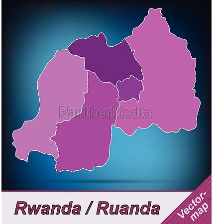 border map of rwanda with borders