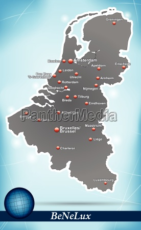 island map of benelux countries abstract