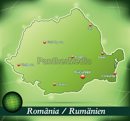 island map of rumaenia abstract background
