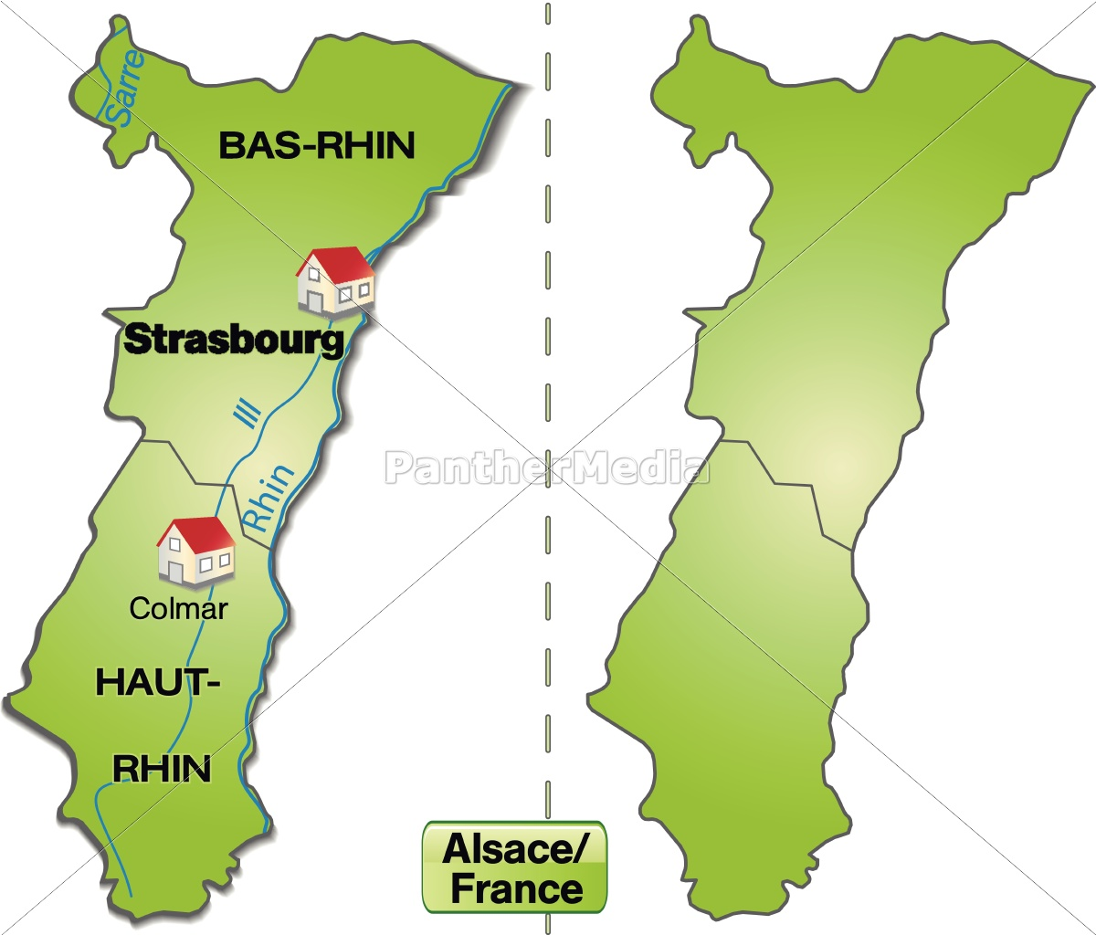 Island Map Of Alsace With Limits In Internet Green Stock Photo