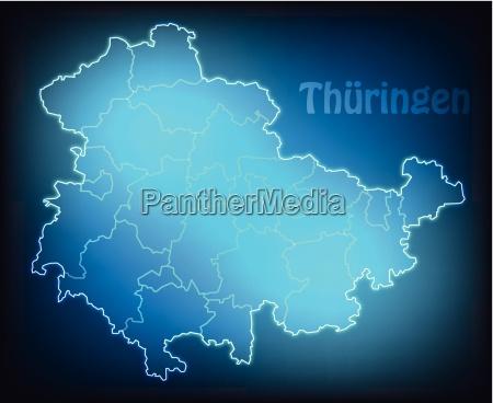 map of thueringen with boundaries in