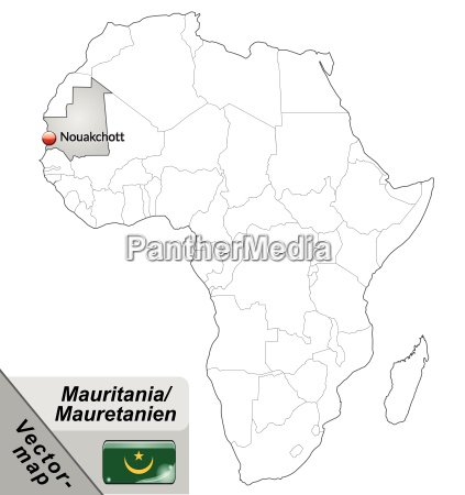 island map of mauritania with capitals