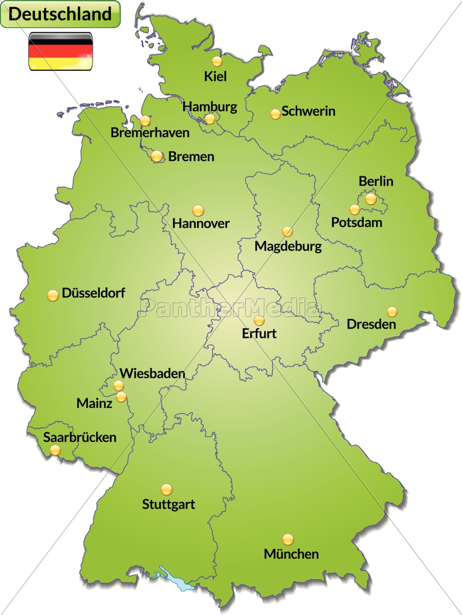 Map Of Germany With Capitals In Green Stock Photo 10629235