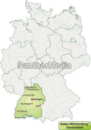 map of baden wuerttemberg with main