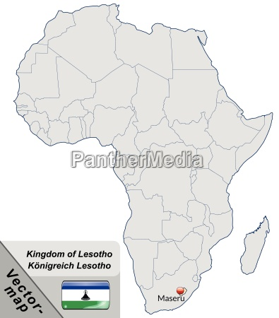island map of lesotho with capitals