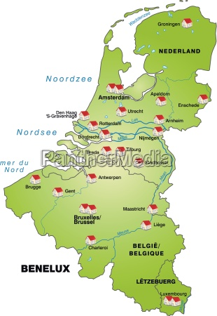 map of benelux countries as infographic