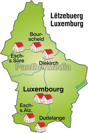 map of luxembourg as an infographic