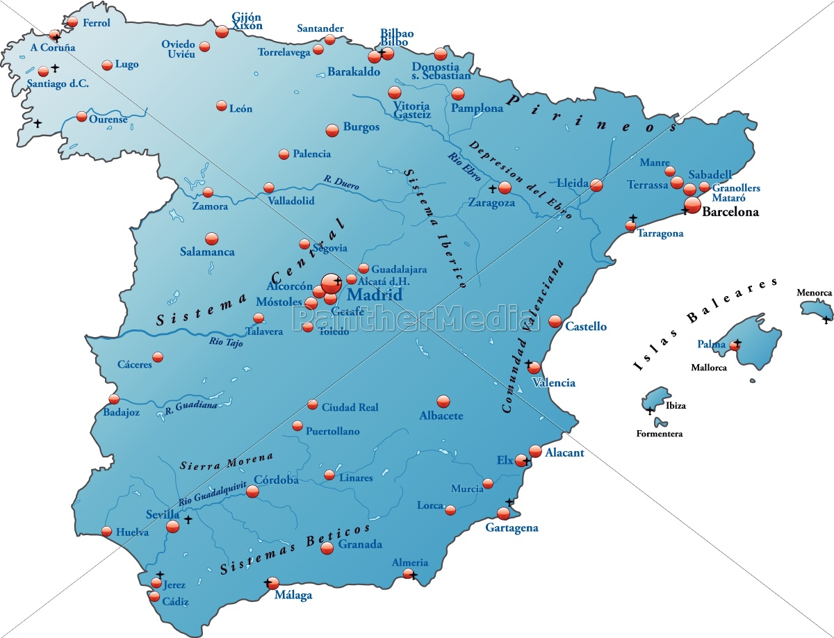 Map Of Spain As Outline Map In Blue Royalty Free Image