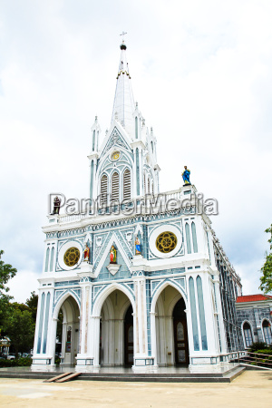white church in samut songkhram thailand