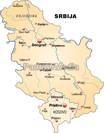 map of serbia as an overview