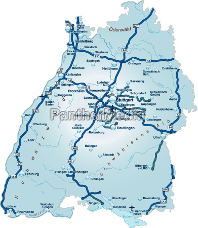 map of baden wuerttemberg with traffic