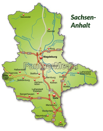 map of saxony anhalt with transport