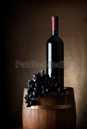 barrel and bottle of wine